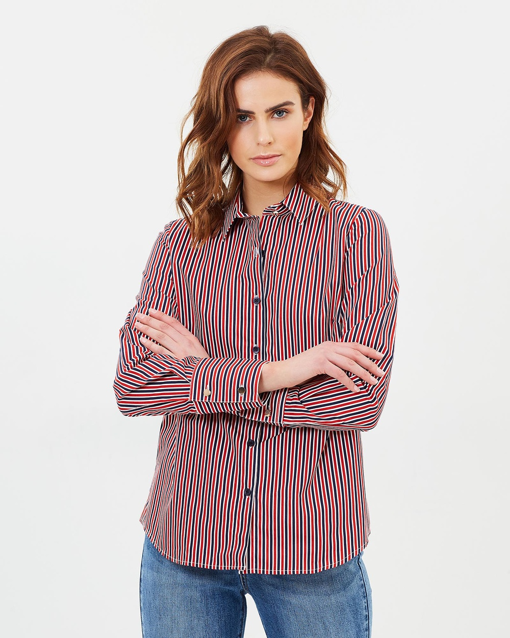 Elvie & Leo The Tailored Shirt Tops Blue & Red Stripe The Tailored Shirt