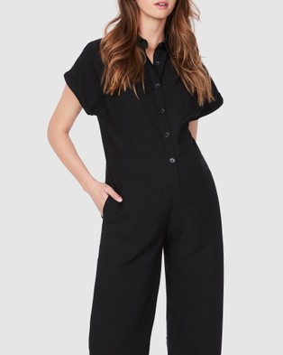 Soon Maternity Lily Buttoned Jumpsuit - Jumpsuits & Playsuits (BLACK)