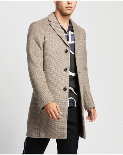 Reiss Barbera Overcoat Oatmeal Check