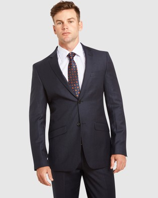 Kelly Country PGH Pure Wool Slim Fit Self Check Suit - Suits & Blazers (Blue)