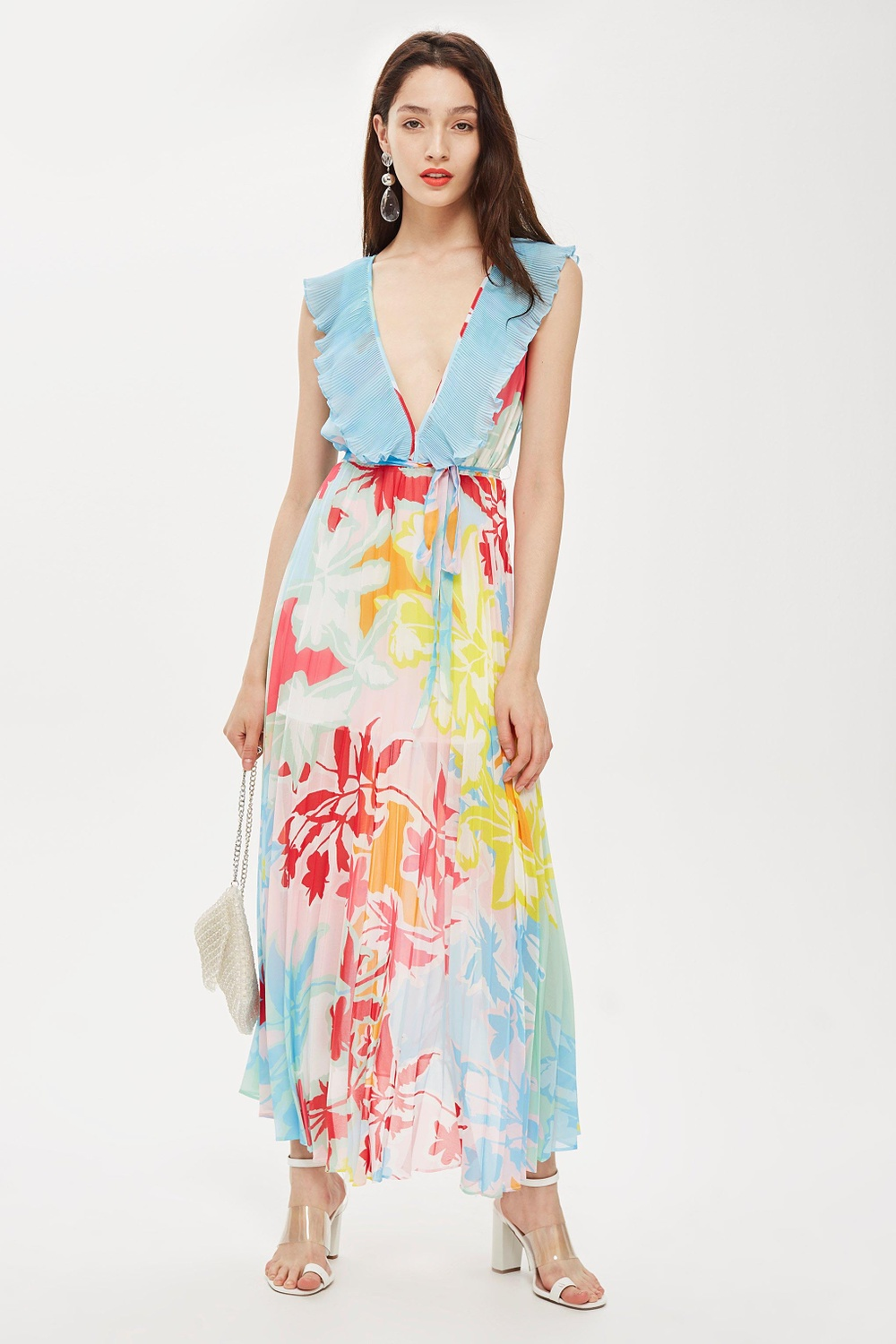 TOPSHOP Paradise Plunge Maxi Printed Dresses Multi Paradise Plunge Maxi