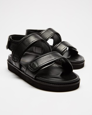 Atmos&Here Marcia Leather Sandals - Sandals (Black Leather)