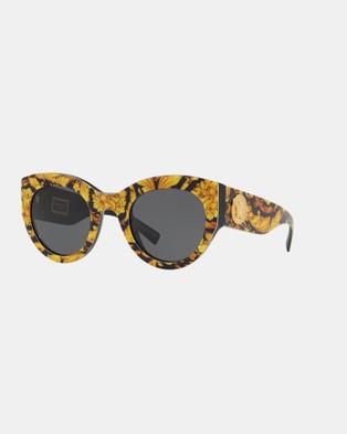 Versace Barocco Print Tribute Sunglasses - Sunglasses (Yellow & Grey)