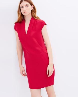 Whistles – Paige V Neck Dress Raspberry