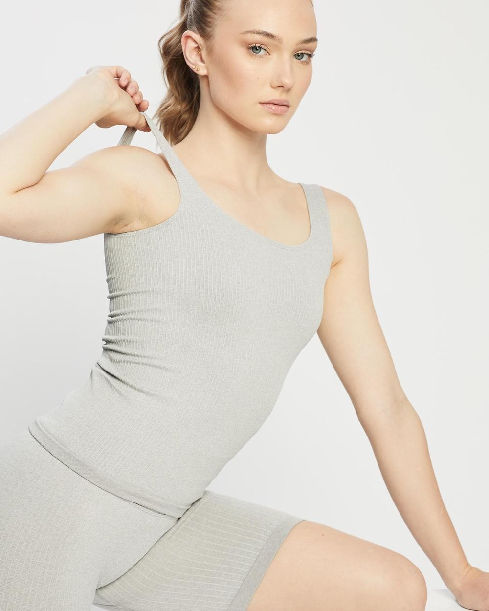 Aim'n Ribbed Seamless Singlet Muscle Tops Light Grey Melange Australia