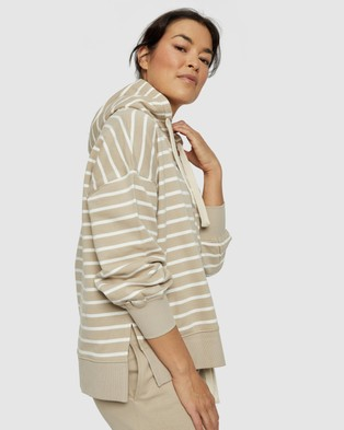 Ceres Life - Organic Serendipity Hooded Sweat Hoodies (Wide Pebble & White Stripe)