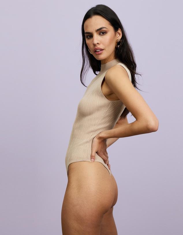 Women Sleeveless Textured Bodysuit