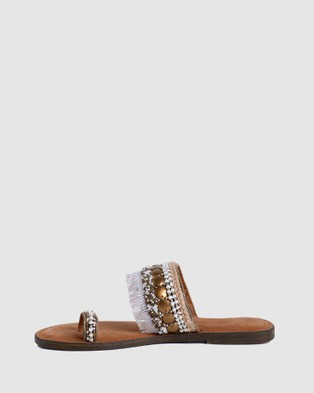 Arms Of Eve Levana Beaded Sandals - Sandals (Gold and Cream)