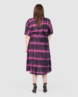 Love Your Wardrobe Alyce Tie Dye Wrap Dress - Printed Dresses (Black/Pink Tie Dye)