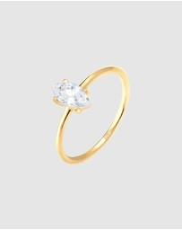 Elli Jewelry - Ring Marquise Zirconia Minimal 925 Silver Gold Plated