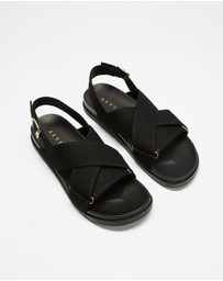 AERE - Linen Crossover Footbed Sandals