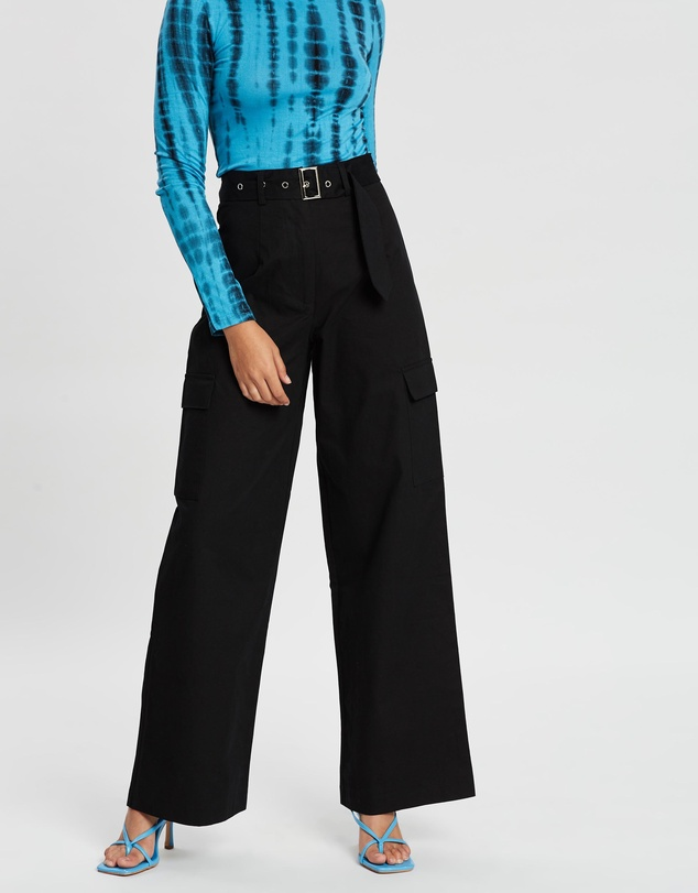 Dazie - Surreal Wide-Leg Belted Pants
