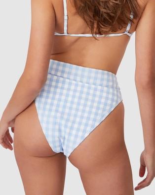 Cotton On Body High Waisted Cheeky Bikini Bottoms - Bikini Bottoms (Pale Blue Gingham)