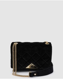 Olga Berg - Alexi Quilted Velvet Shoulder Bag