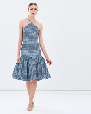 BY JOHNNY. – Triangle Raffia Flair Dress – Dresses (Blue Raffia)