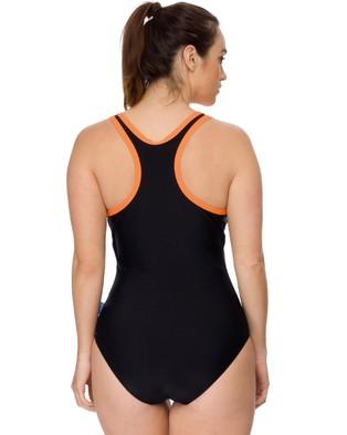 Curvy Chic Sports Racerback Swimsuit - One-Piece / Swimsuit (Black & Orange)