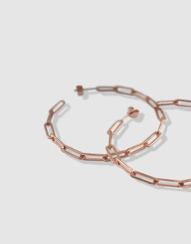 Women Link Chain Hoop Earrings Rose