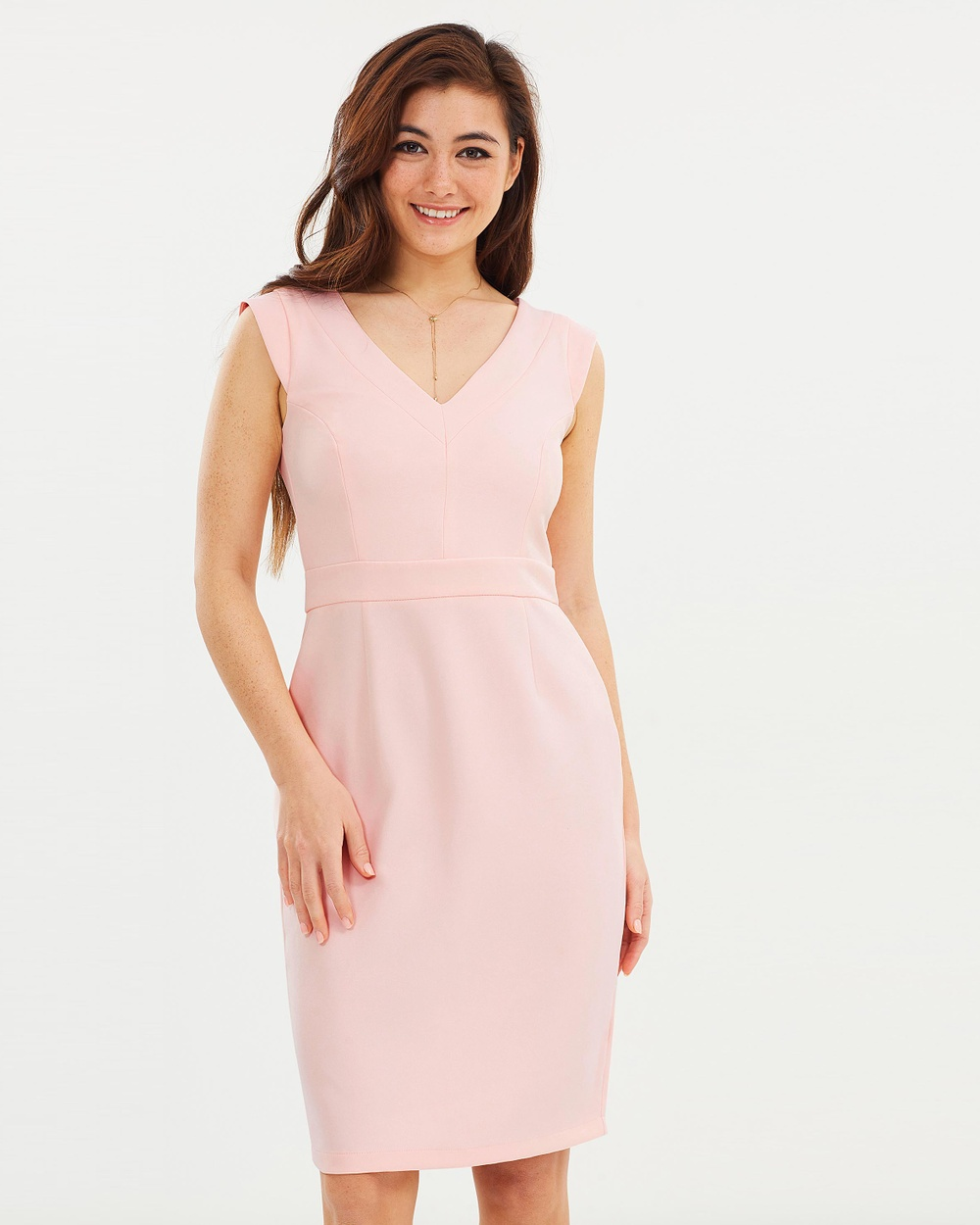 Dorothy Perkins V Neck Pencil Dress Dresses Pink V-Neck Pencil Dress