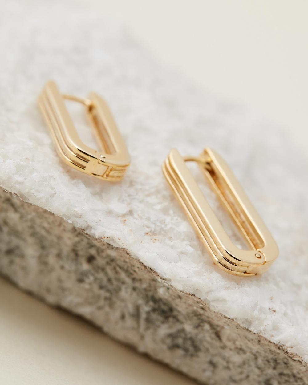 Orelia London Linear Long Link Earrings Jewellery Pale Gold