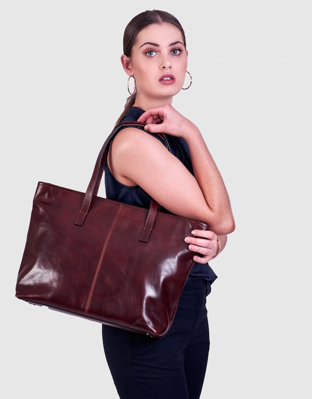 Women The Beatrice Brown Leather Tote Work Bag