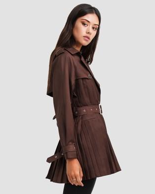 Belle & Bloom Wish You Were Mine Belted Jacket - Coats & Jackets (Brown)