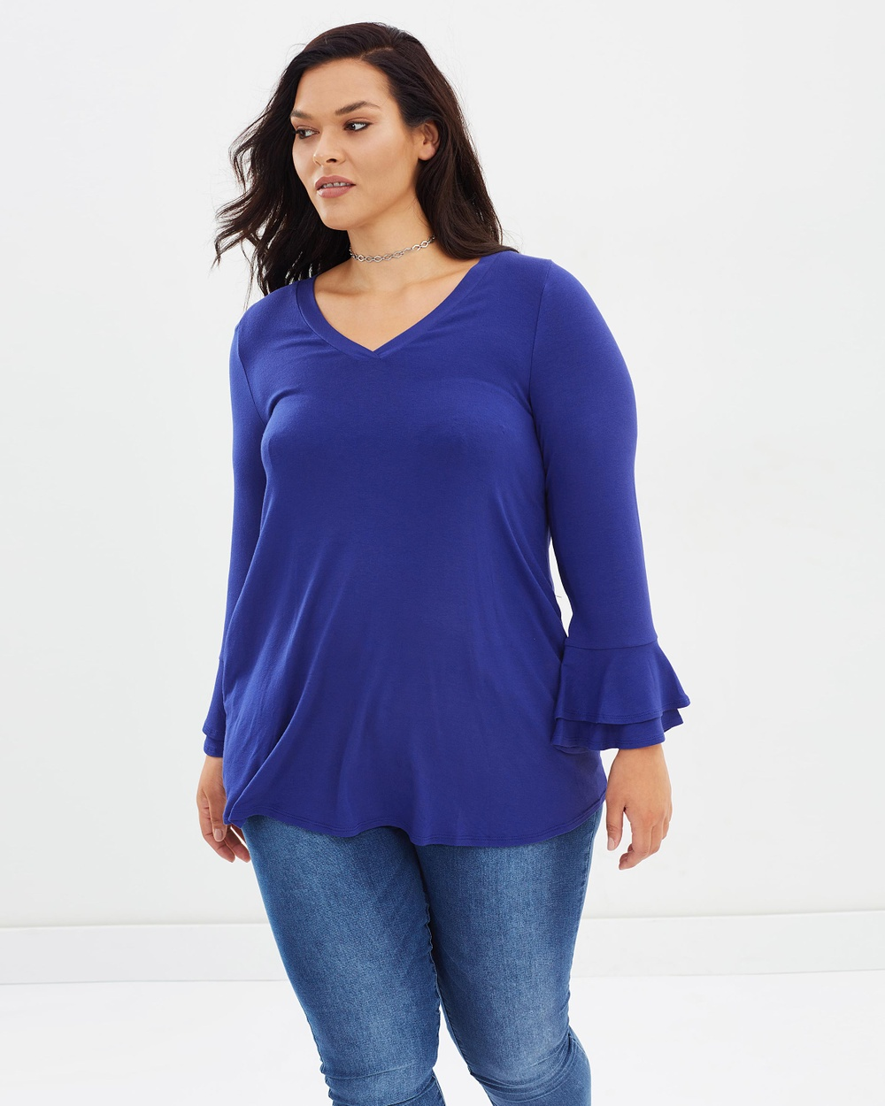 EVANS Tunic Top Tops Blue Tunic Top