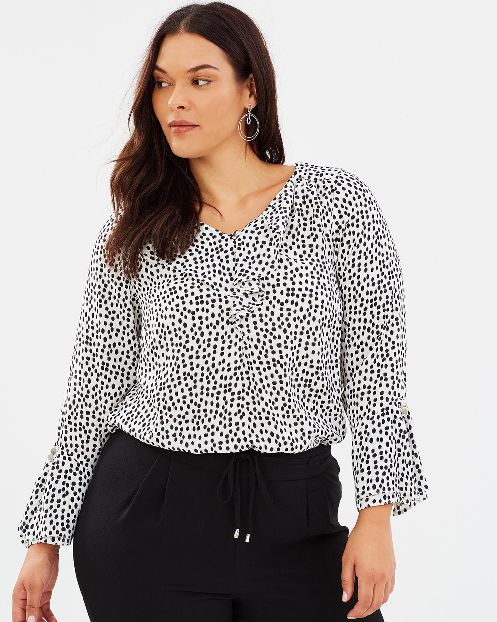 EVANS Spotted Frill Shirt Tops Black & White Spotted Frill Shirt