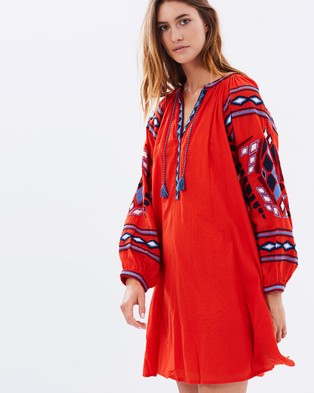 Maison Scotch – Embroidered Boho Dress – Dresses (Candy Red)