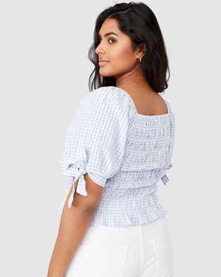 Cotton On Curve Bella Shirred Square Neck Blouse - Tops (Bethany Gingham Vintage Blue)
