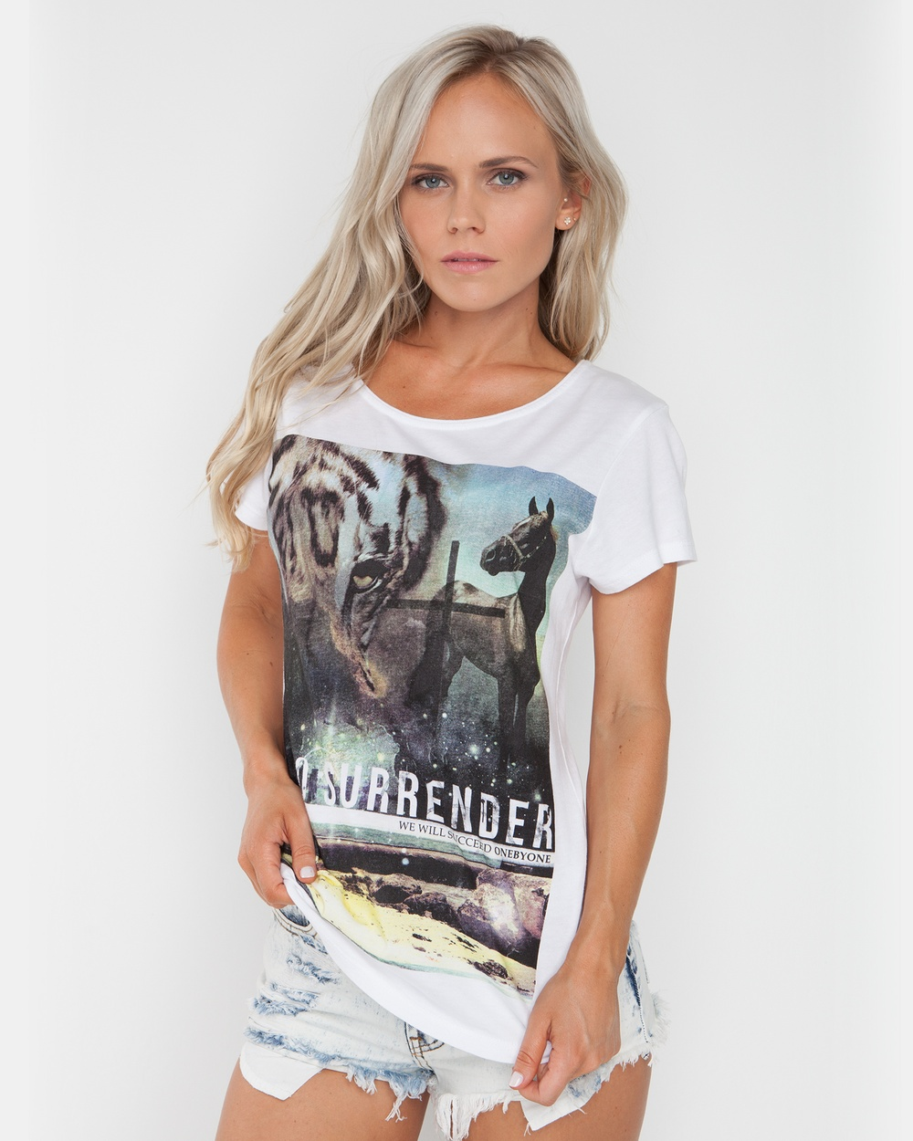 ONEBYONE No Surrender Tee Tops White No Surrender Tee