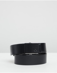 Calvin Klein - 3.5cm Adjustable Leather Plaque Belt
