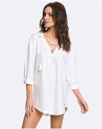 Roxy - Womens Lonely For You Oversized Shirt Beach Dress