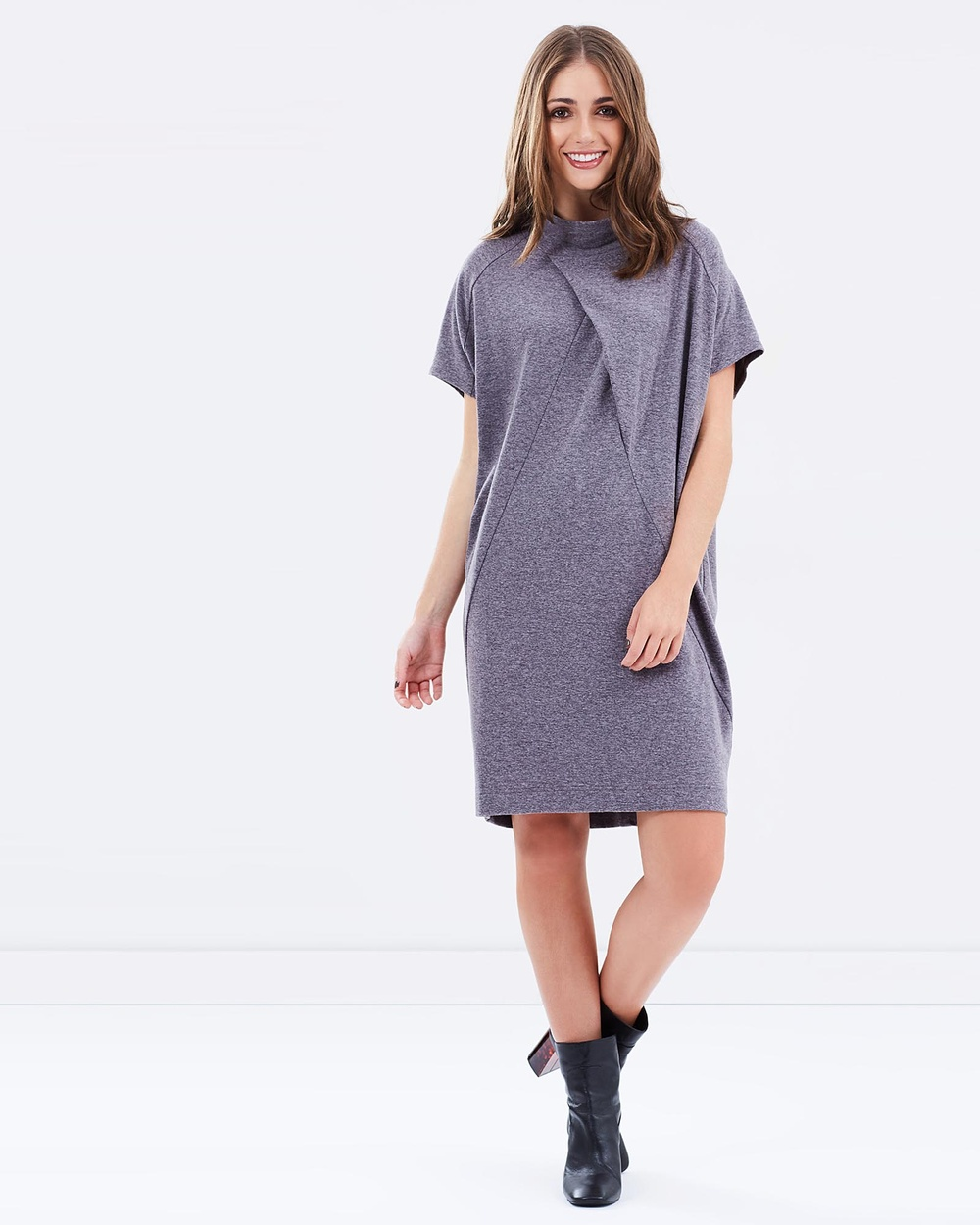 Privilege Oversized Sweater Dress Dresses Grey Oversized Sweater Dress