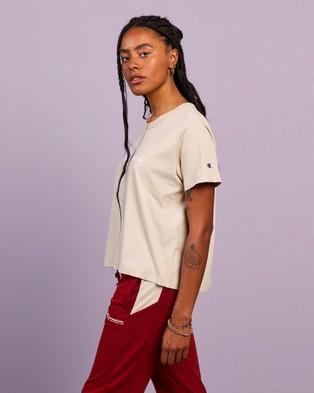 Champion - Script Boxy Tee Short Sleeve T-Shirts (Still Beige)