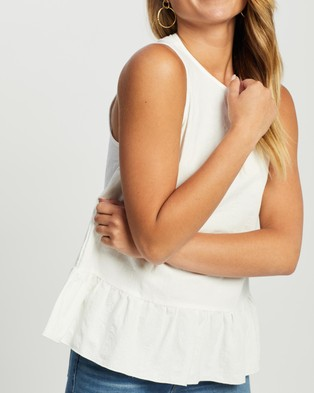 Atmos&Here Thea Linen Blend Blouse - Tops (White)