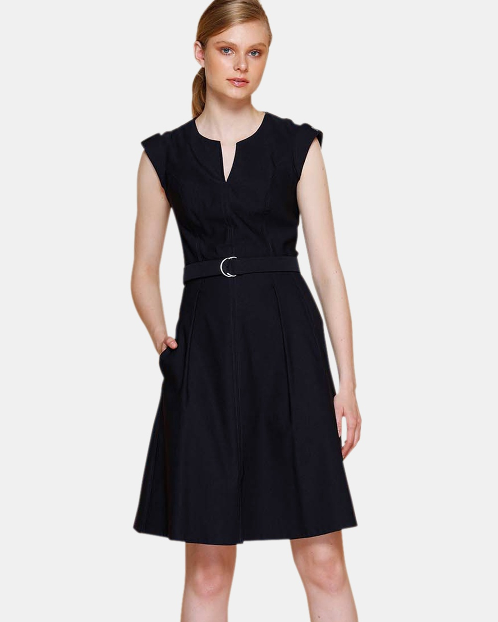 SACHA DRAKE Navy Fit and Flare Dress