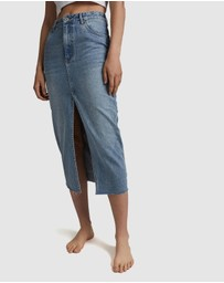 Cotton On - Front Split Denim Midi Skirt