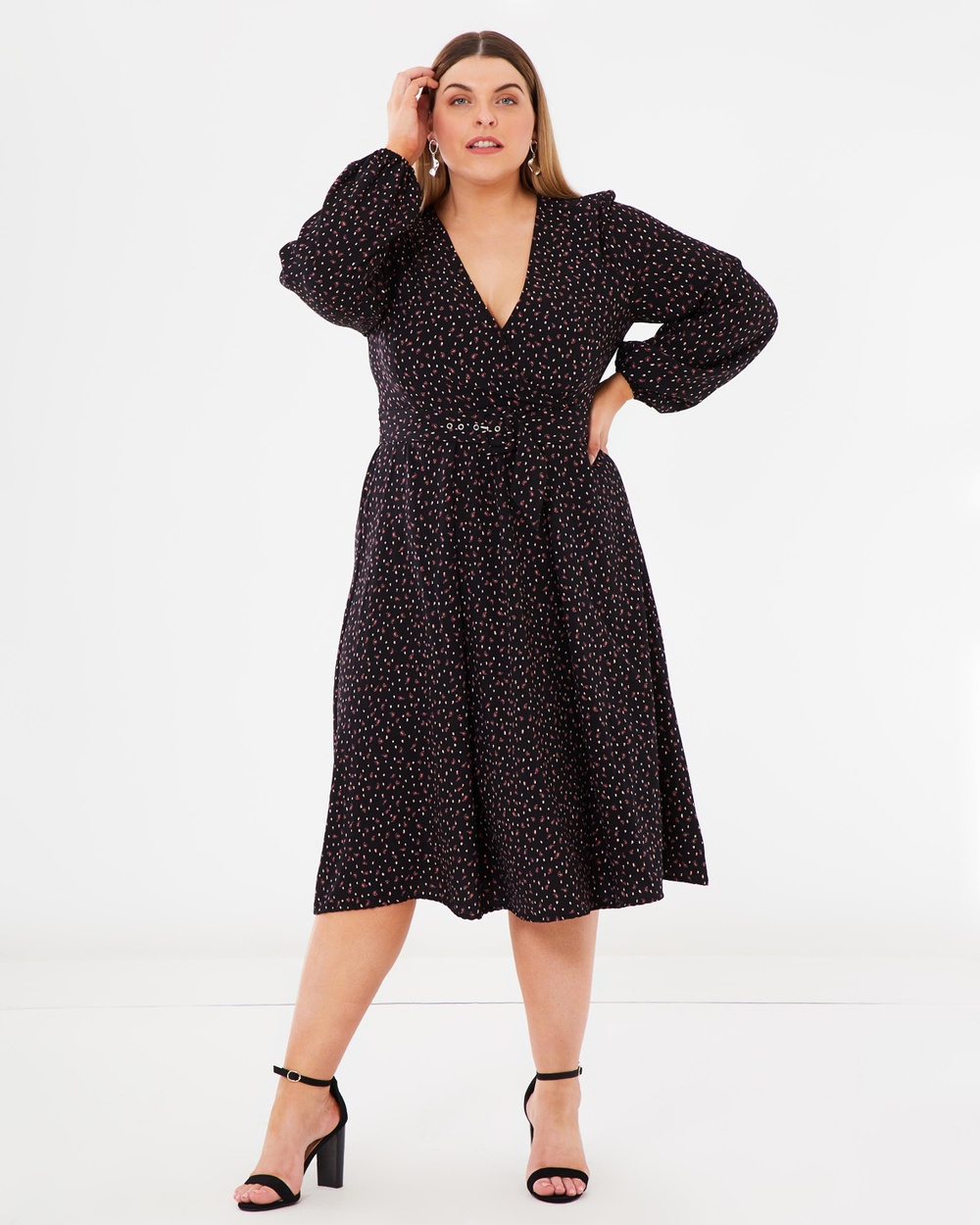 Atmos & Here Curvy ICONIC EXCLUSIVE Jessie Buckle Midi Dress Printed Dresses Paisley Scatter Print ICONIC EXCLUSIVE Jessie Buckle Midi Dress