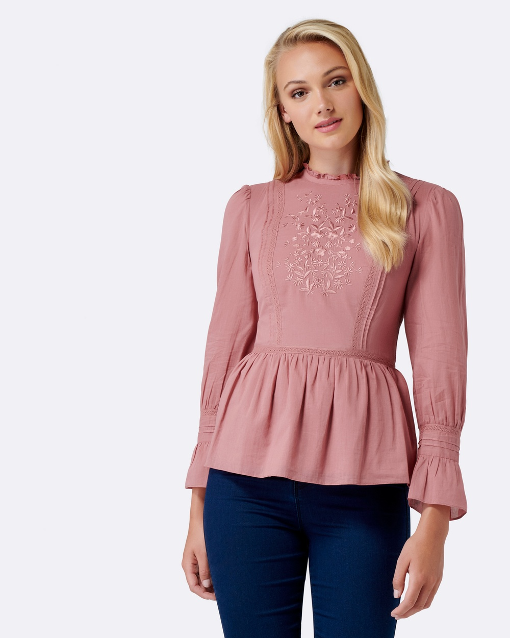 Forever New Mila Victorian Fit & Flare Blouse Tops Musk Rose Mila Victorian Fit & Flare Blouse