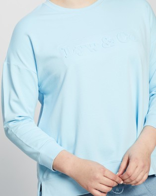 Love Your Wardrobe Lyw & Co Embossed Sweat - Sweats (Aqua)