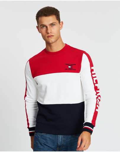 Tommy Hilfiger - Branded Colourblock Crew Neck Sweat