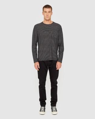 Jag - Cotton Stripe Long Sleeve Tee - T-Shirts & Singlets (Ivory Ink) Cotton Stripe Long Sleeve Tee