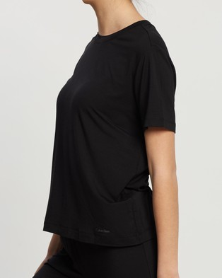 Calvin Klein Sophisticated Lounge Na Only SS Crew Neck Tee - Sleepwear (Black)