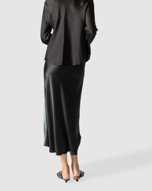 GINIA RTW Boa Silk Satin Skirt - Skirts (Blue/Black)