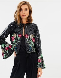 Miss Selfridge - Sequin Bird Flute Sleeve Jacket