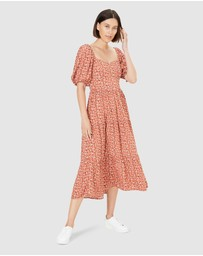 French Connection - Midi Floral Puff Sleeve Dress