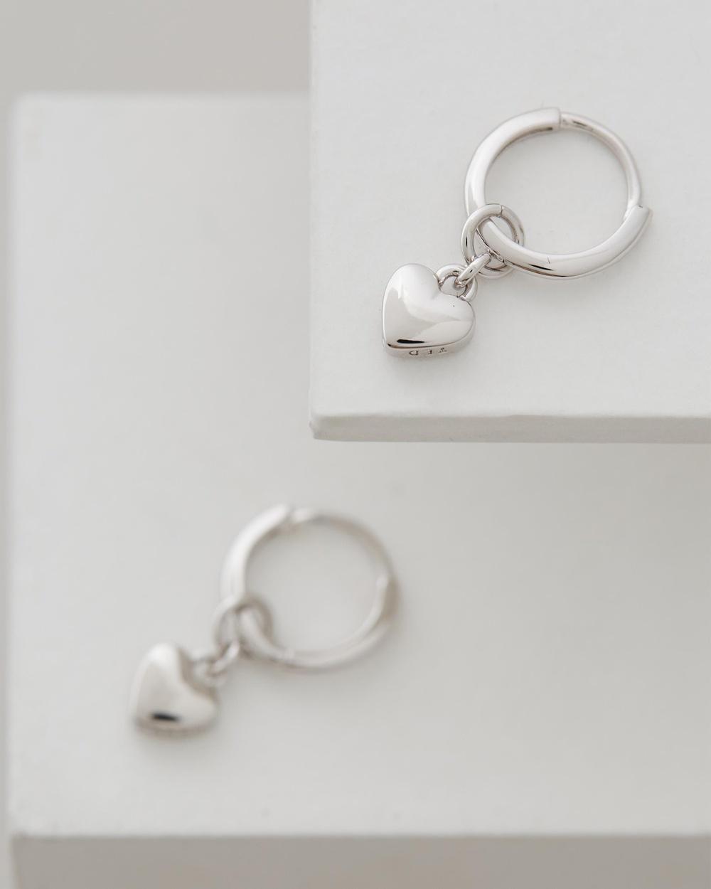 Ted Baker Harrie Tiny Heart Huggie Earrings Jewellery Silver