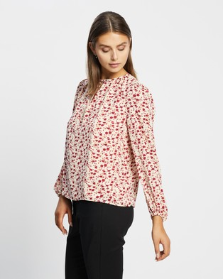 Atmos&Here - Beth Key Hole Blouse Tops (Red Poppy Print)