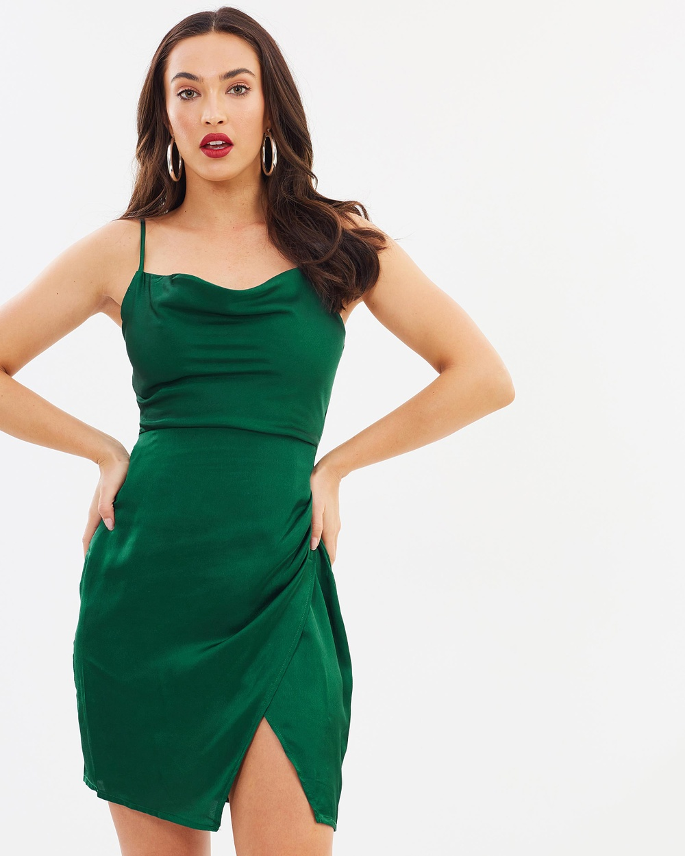 Missguided Satin Strappy Cowl Neck Mini Dress Bodycon Dresses Emerald Satin Strappy Cowl Neck Mini Dress