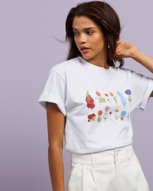 Cools Club Sunday Tee - T-Shirts & Singlets (White Flowers)